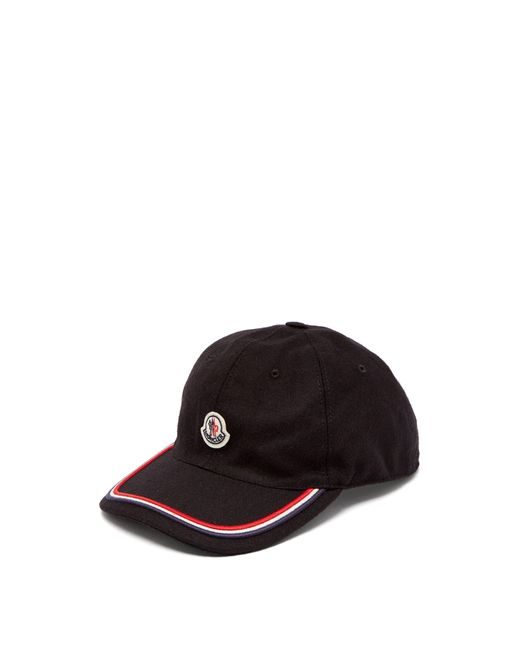 45ea7504248 Moncler - Black Logo Embroidered Cap for Men - Lyst ...