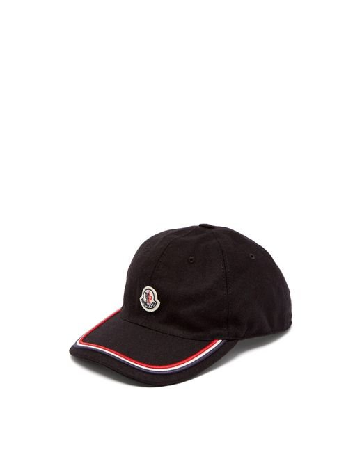 af3903dc7c1 Moncler - Black Logo Embroidered Cap for Men - Lyst ...