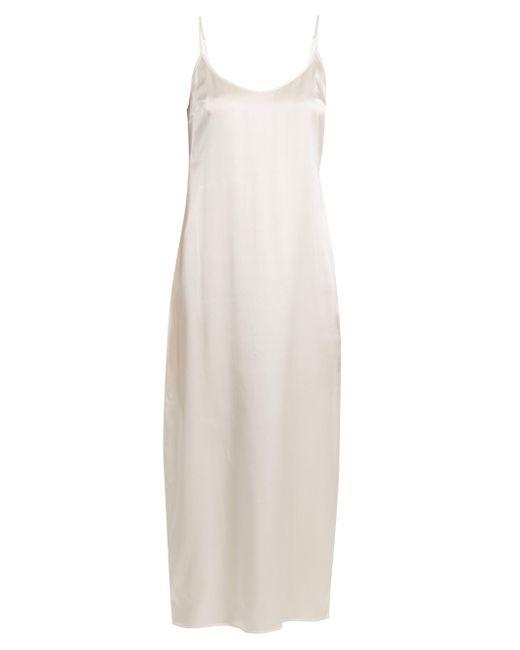 La Perla White Scoop-neck Silk-charmeuse Midi Nightdress