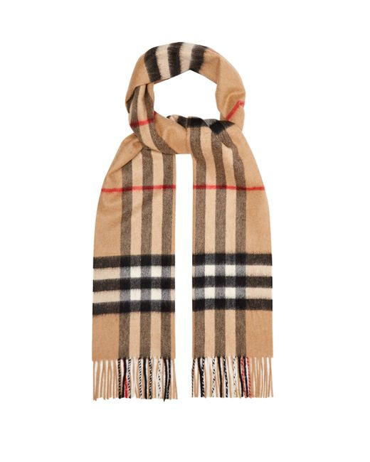 Burberry Natural Giant Cashmere Check Scarf