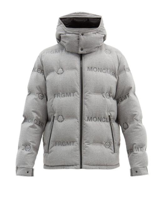 メンズ 7 MONCLER FRAGMENT ロゴプリント フーデッドダウンジャケット Gray