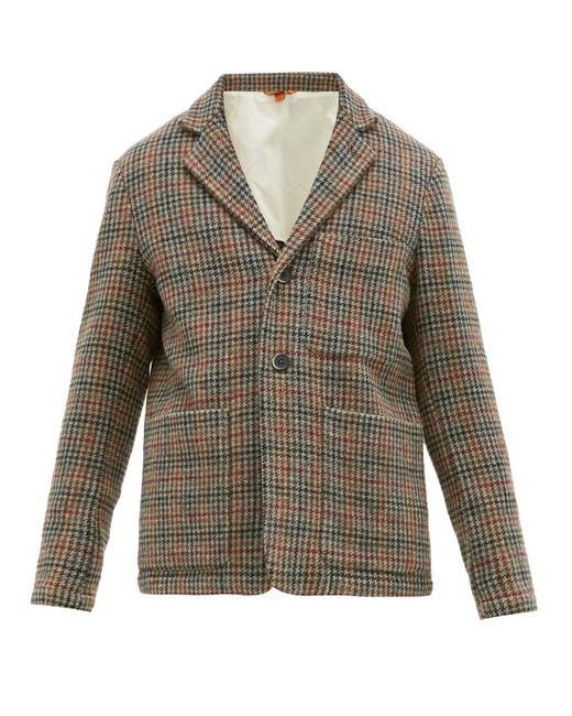 Barena Brown Cimento Single Breasted Wool Houndstooth Blazer for men