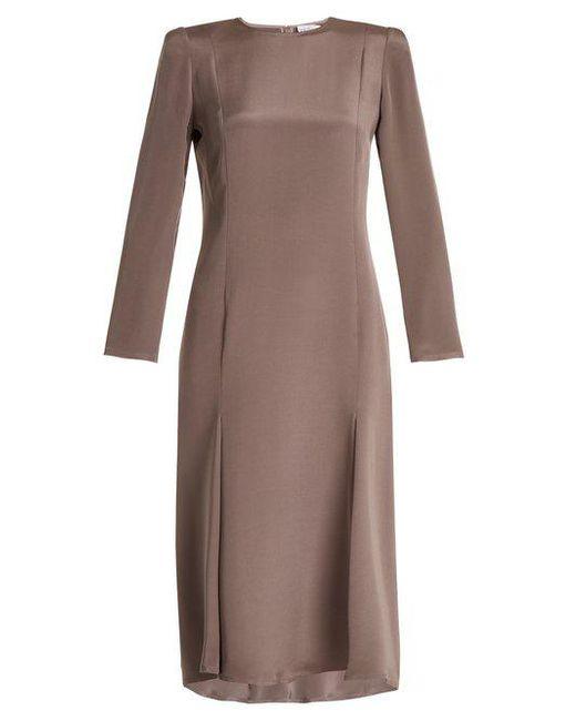 Raey - Purple Bracelet-sleeve Pleat-front Silk Dress - Lyst