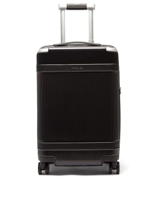 Paravel Black Aviator Plus Ribbed Cabin Suitcase for men