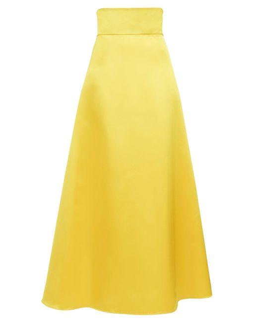Sara Battaglia Aライン サテンマキシドレス Yellow