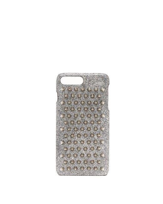 Christian Louboutin Metallic Loubiphone Glittered Leather Iphone 7 And 8 Plus Case