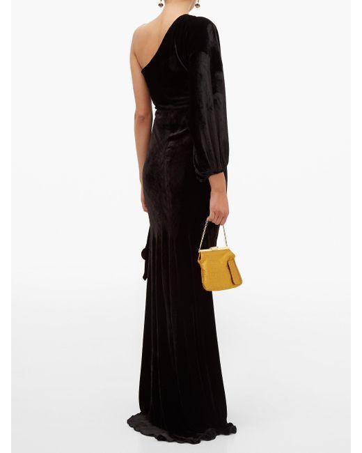 Maria Lucia Hohan Amaris ワンショルダー ベルベットドレス Black
