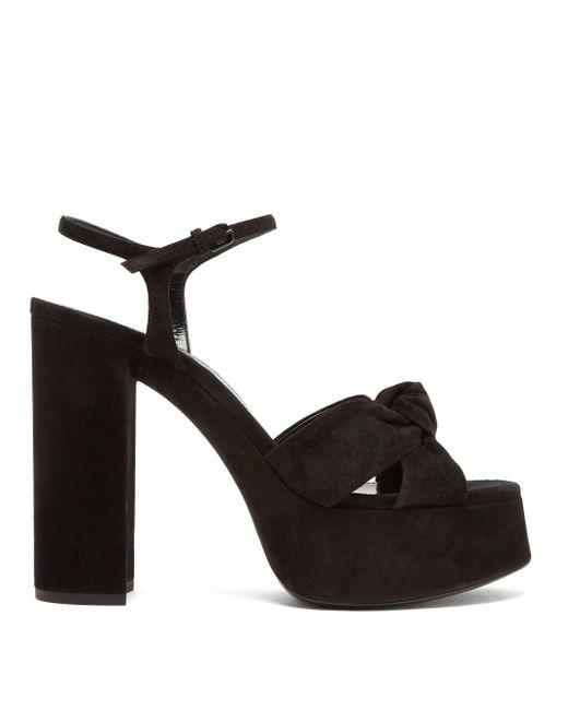 Saint Laurent Black Bianca Knotted Suede Platform Sandals
