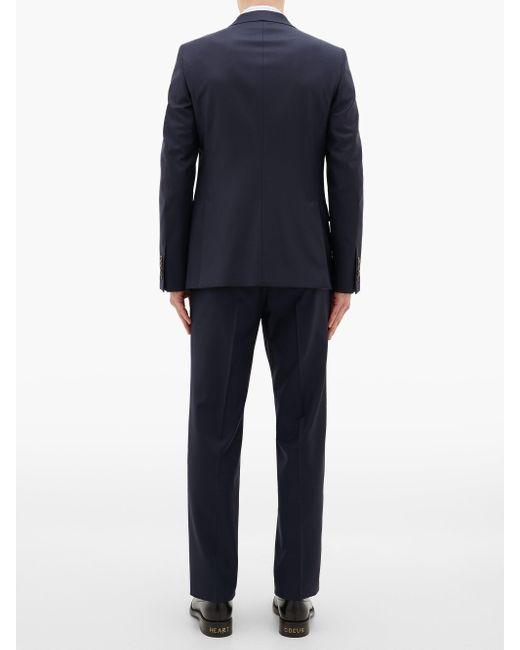 メンズ Gucci ロンドン ウールブレンド シングルスーツ Blue