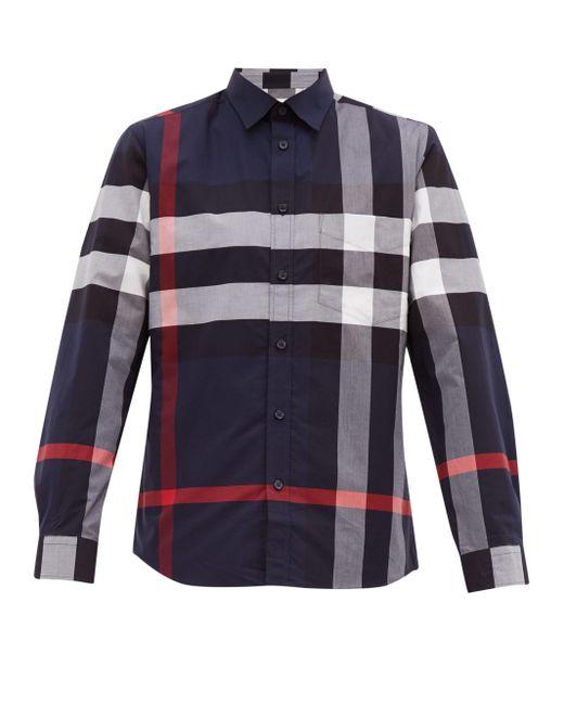 メンズ Burberry ネイビー チェック Windsor シャツ Blue