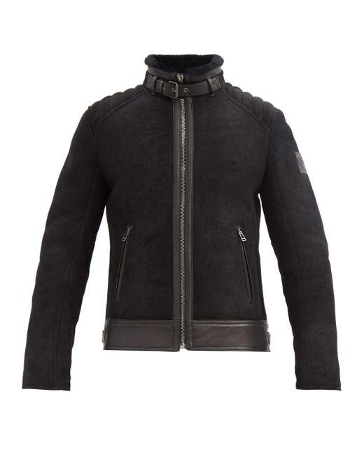メンズ Belstaff Westlake 2.0 シアリング&スエード ジャケット Black