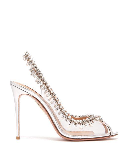 Aquazzura Metallic Temptation 105 Embellished Sandals