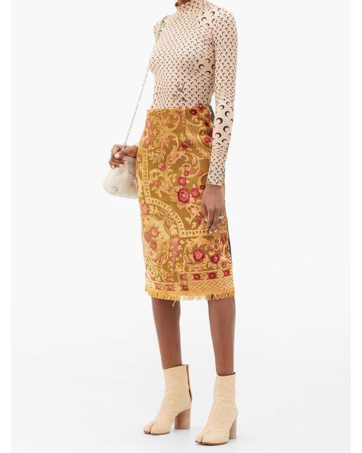 MARINE SERRE アップサイクル フローラル パネルコットンスカート Multicolor