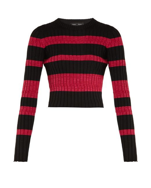 Proenza Schouler   Multicolor Long-sleeved Striped Wool-blend Cropped Sweater   Lyst