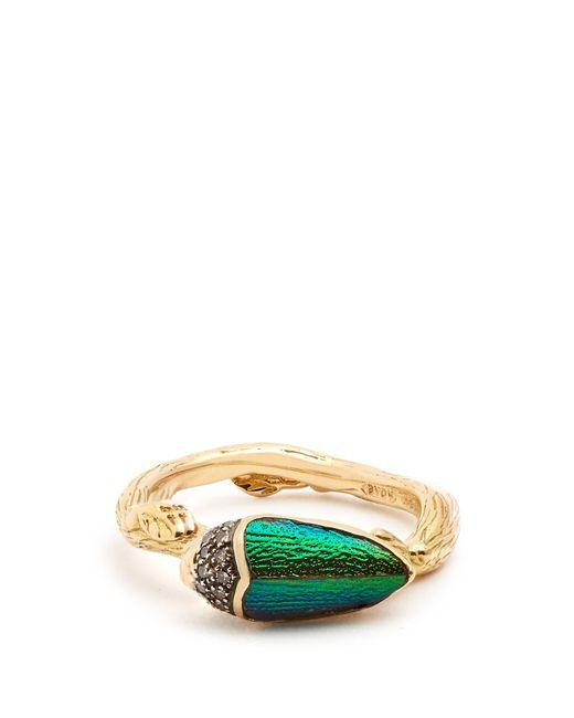 Bibi Van Der Velden - Multicolor Scarab Yellow-gold Ring - Lyst
