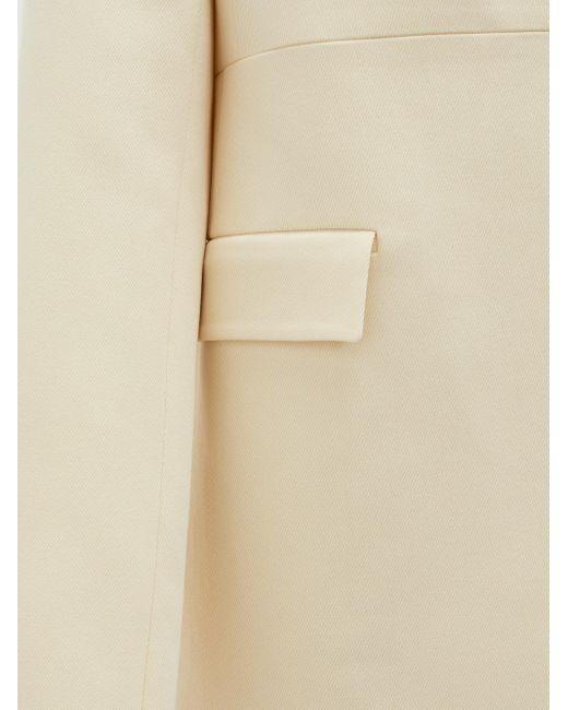 Jil Sander カラーレス コットンシルク シングルジャケット Natural