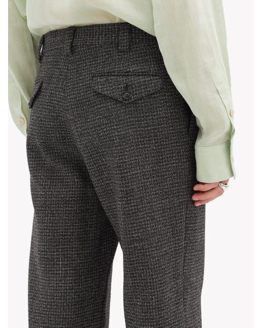 メンズ Marni ハイライズ バージンウールツイード ワイドパンツ Gray