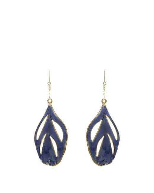 Aurelie Bidermann   Metallic Plumes Lacquered Yellow-Gold Earrings   Lyst