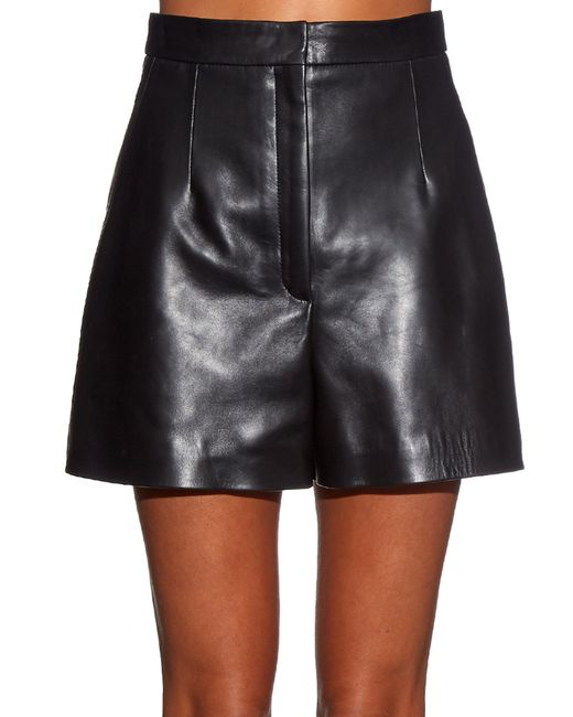 Balenciaga High-waist Leather Shorts in Black | Lyst