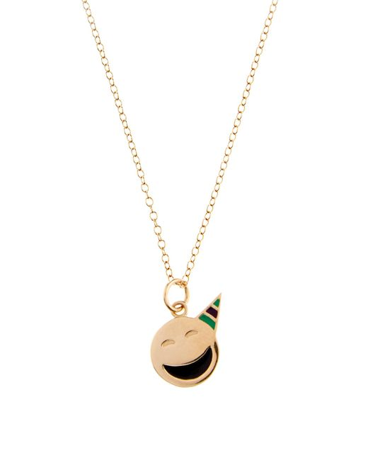 Alison Lou | Metallic Enamel & Yellow-gold Party On Face Necklace | Lyst