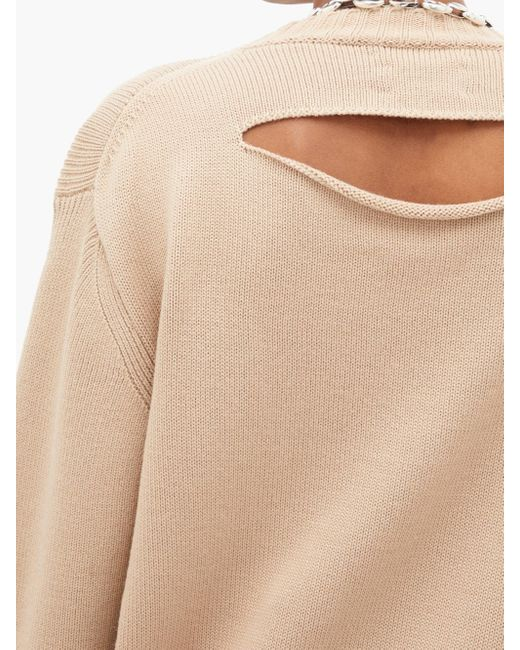 Bottega Veneta オーバーサイズ カットアウト リブニットセーター Natural