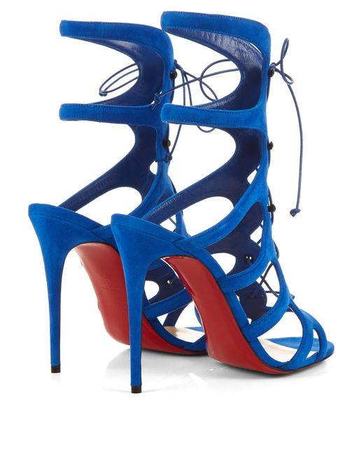 replica christian louboutins shoes - Christian louboutin Amazoulo Lace-Up Suede Gladiator Sandals in ...