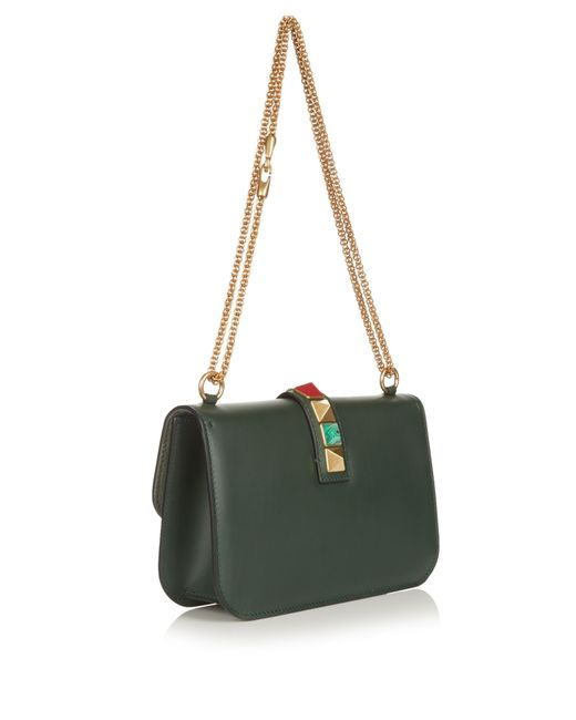 valentino lock medium leather shoulder bag in green dark green lyst. Black Bedroom Furniture Sets. Home Design Ideas