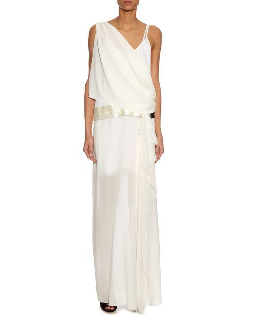 Loyd Ford Chiffon Overlay Silk Maxi Dress In White Lyst