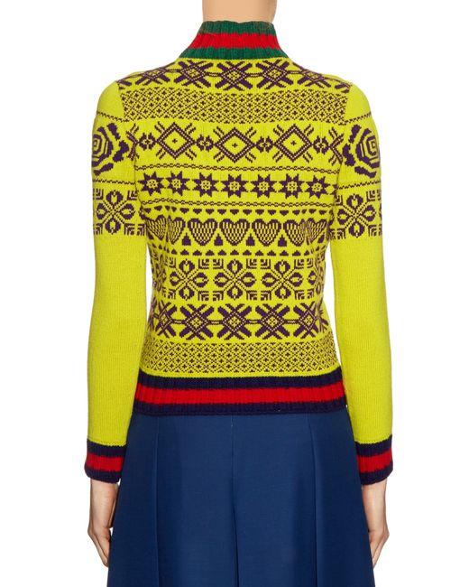 Gucci Cat Appliqu 233 Wool Sweater In Yellow Lyst