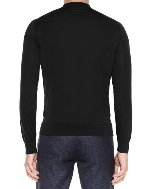 Lanvin Long Sleeved Silk Knit Polo Shirt In Black For Men