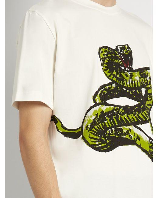 Balenciaga Snake Print Cotton Jersey T Shirt In White For