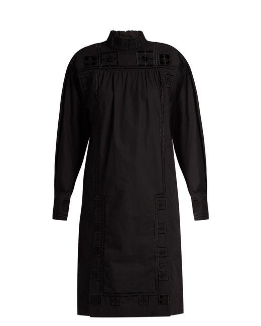 Isabel Marant   Black Samuel High-Neck Cotton Dress   Lyst
