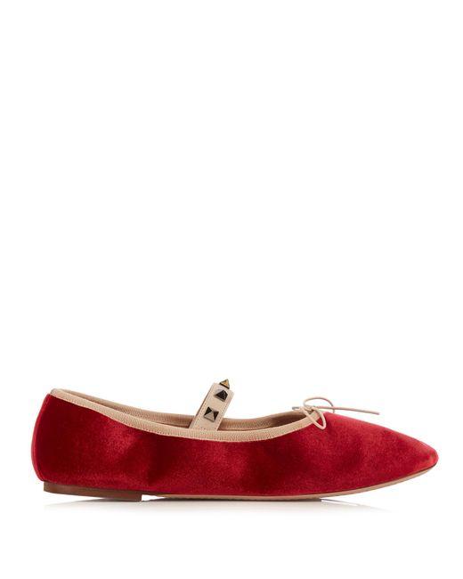 Valentino | Red Rockstud Velvet Ballet Flats | Lyst