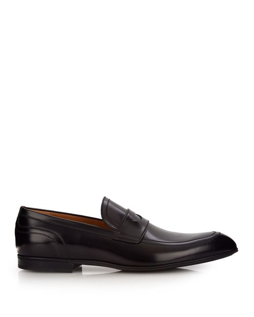 Gucci | Black Leather Loafers for Men | Lyst