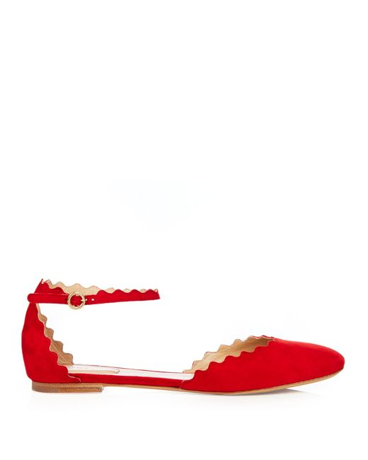Chloé | Red Lauren Scalloped Suede Flats | Lyst