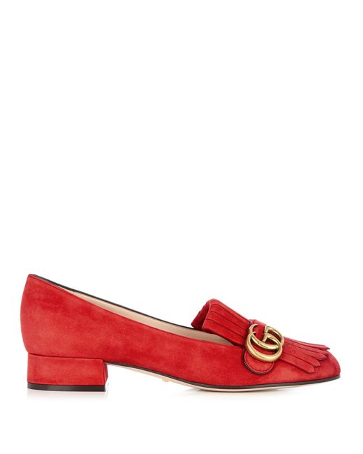 Gucci | Red Marmont Fringed Suede Loafers | Lyst