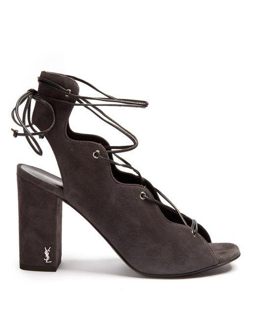 Saint Laurent | Gray Babies Lace-up Suede Sandals | Lyst