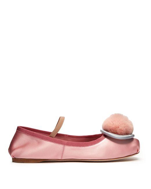 Miu Miu | Multicolor Fur-pompom Satin Ballet Flats | Lyst