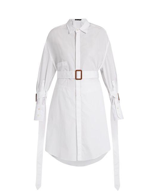 Calvin Klein | White Katya Belted Cotton Shirt | Lyst