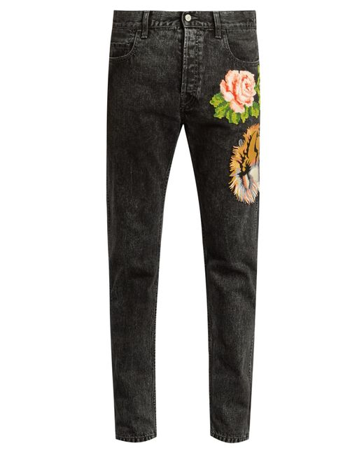 Gucci floral embroidered slim leg jeans in gray for men lyst