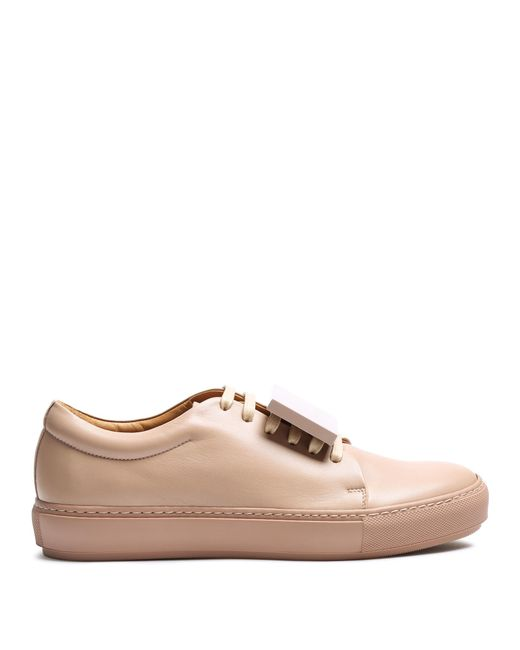 Acne   Pink Adriana Turnup Leather Trainers   Lyst