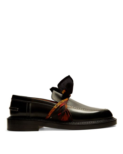 Maison Margiela | Black Silk-scarf Tie-front Leather Loafers | Lyst