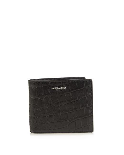 Saint Laurent Black Crocodile-effect Leather Wallet for men