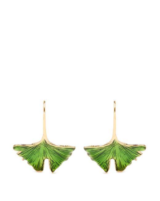 Aurelie Bidermann | Metallic Ginkgo Lacquered Gold-plated Earrings | Lyst