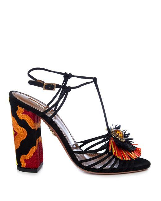 Aquazzura | Black Samba Raffia-embellished Suede Sandals | Lyst