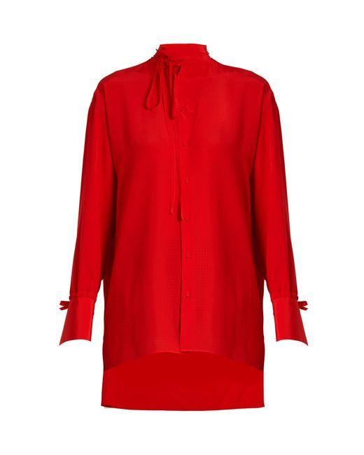 Valentino   Red Tie-neck Silk Blouse   Lyst