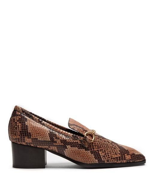 Stella McCartney | Brown Python-effect Faux-leather Block-heel Loafers | Lyst