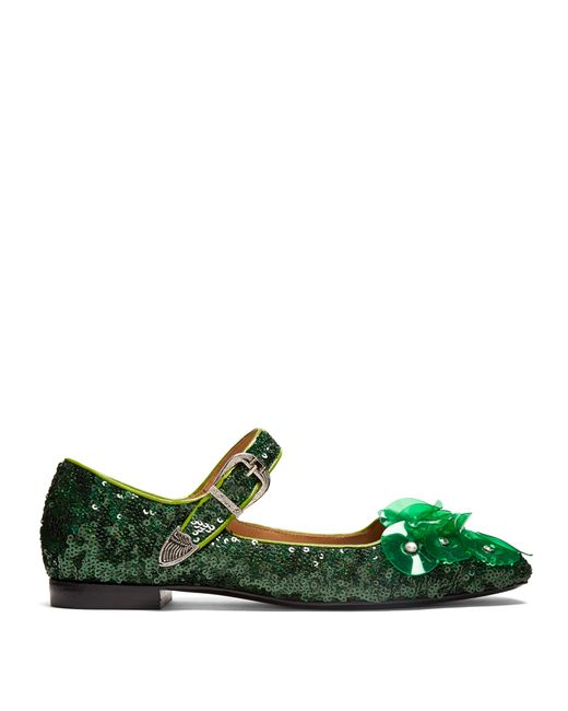 Toga | Green Sequin Square-toe Embellished Ballet Flats | Lyst