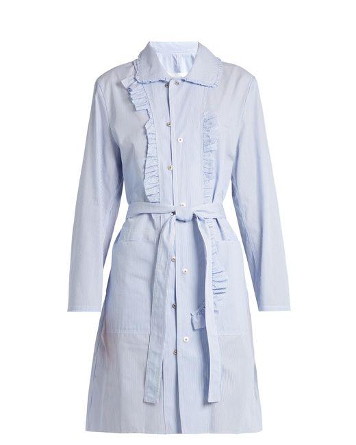 Maison Margiela   Blue Asymmetric-ruffle Striped Cotton-poplin Dress   Lyst