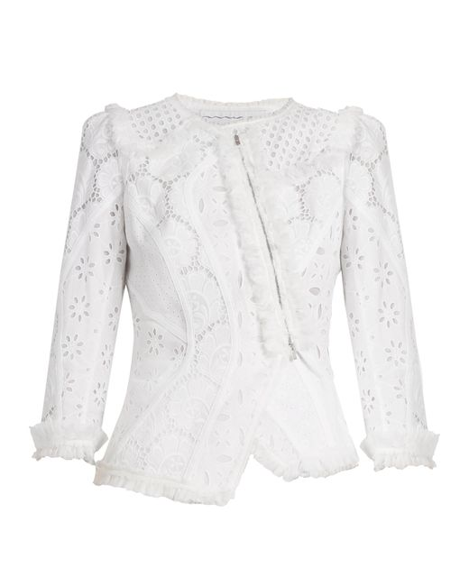 Andrew Gn   White Asymmetric Broderie-anglaise Cotton Jacket   Lyst